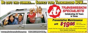 Summer transmission preventative maintenance coupon - $19.95